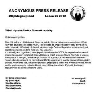 Anonymous napadli web OSA a Vlády České republiky
