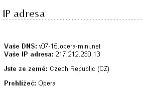 IP adresa - Opera Turbo