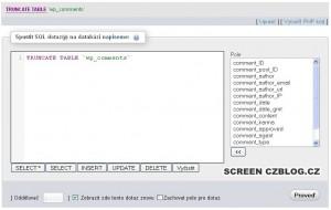 phpMyAdmin - hromadné smazání kometářů ve WordPressu