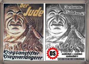 Leták Dělnické strany (nyní DSSS) a leták nacistické NSDAP