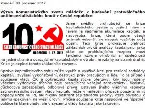 Komunisté v ČR budují protiválečné antiimperialistické hnutí