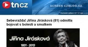 Jiřina Jirásková sebevražda