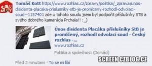 Komunista Tomáš Kott podporuje příslušníky StB