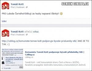 Kott přiznává, že podporuje komunistické zločince