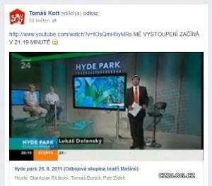 Kott v pořadu Hyde Park